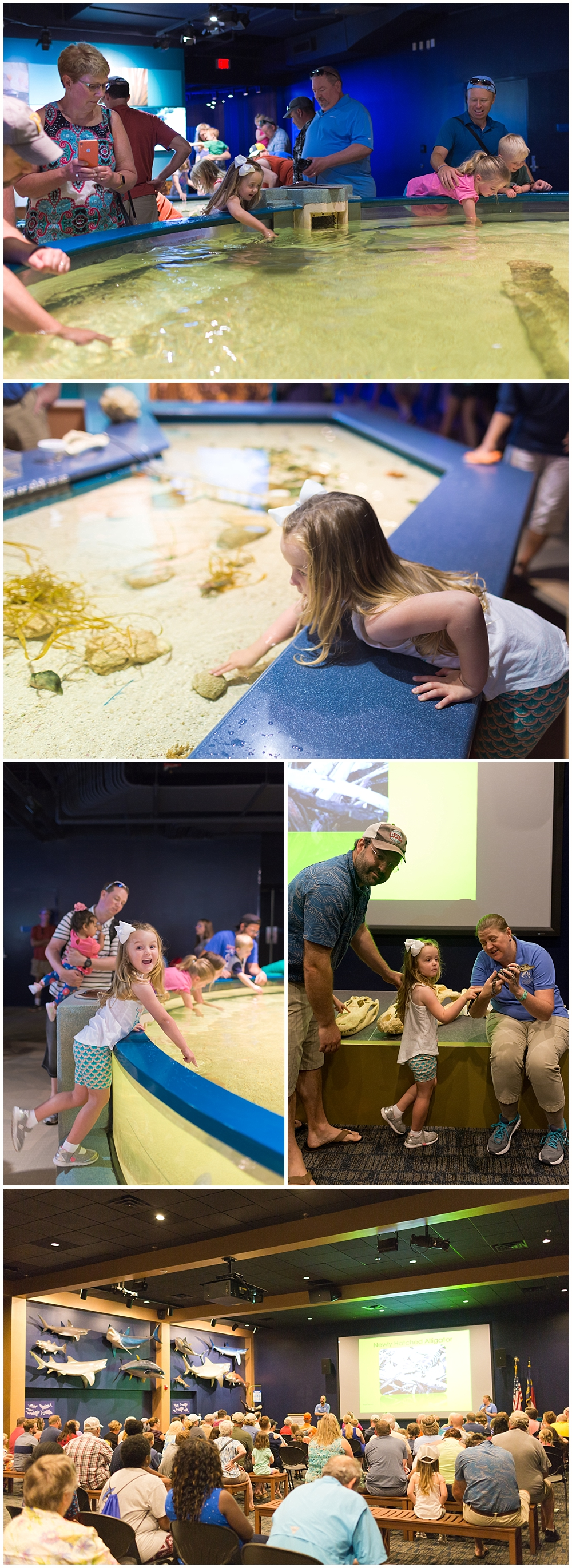 little girl with rays, alligator at North Carolina Aquarium on Roanoke Island