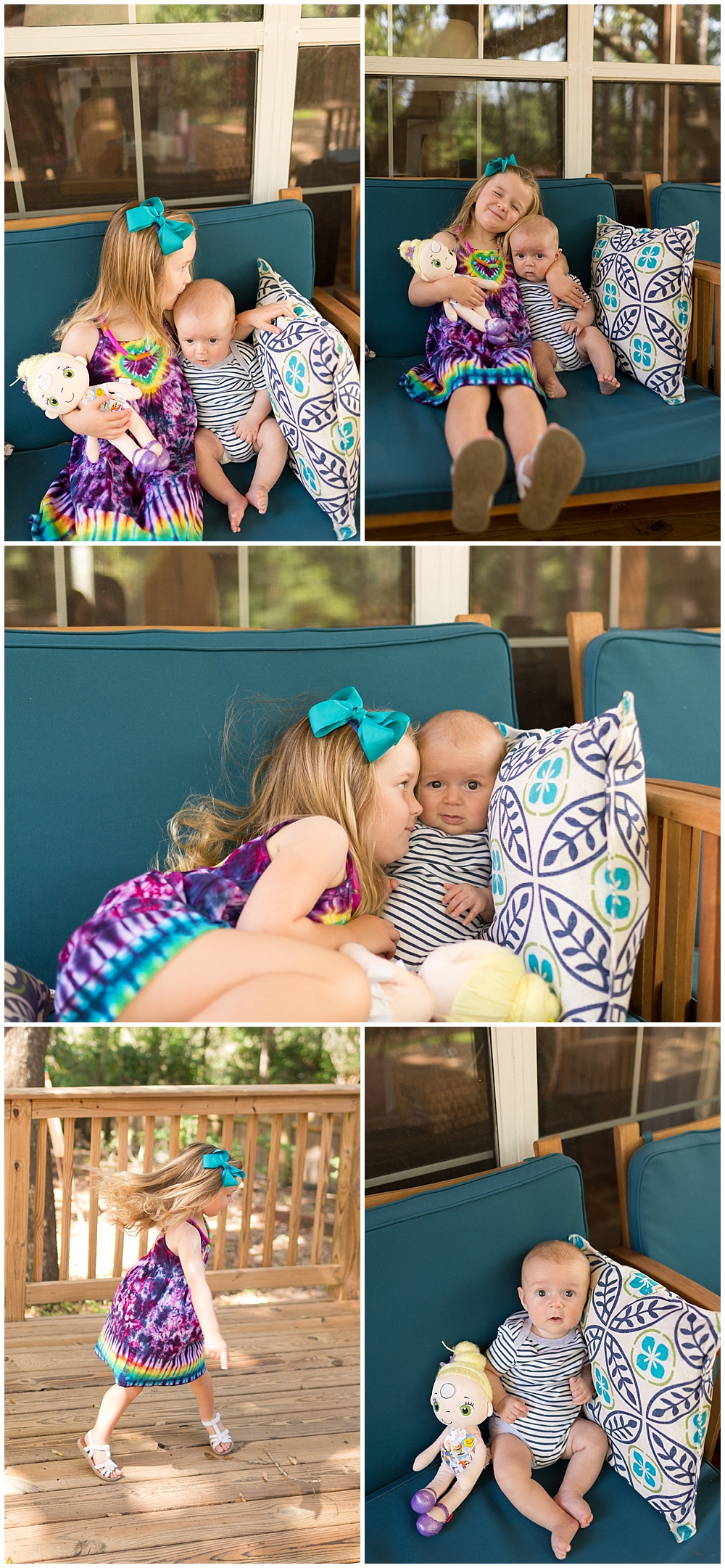 l3-year-old sister and four-month-old brother on back porch in Ocean Springs, MS