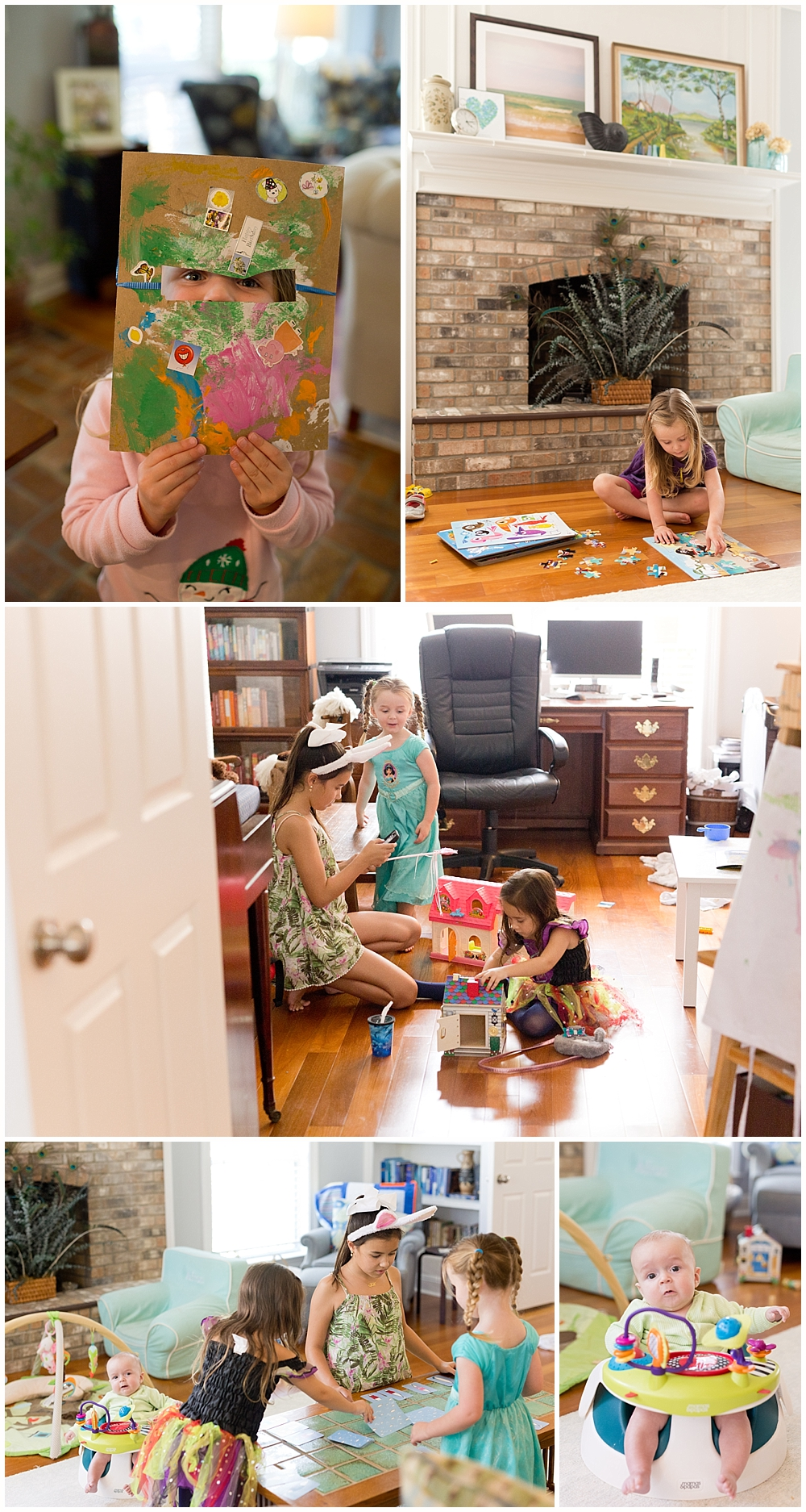 Ocean Springs family lifestyle photographer - kids playing in living room and playroom