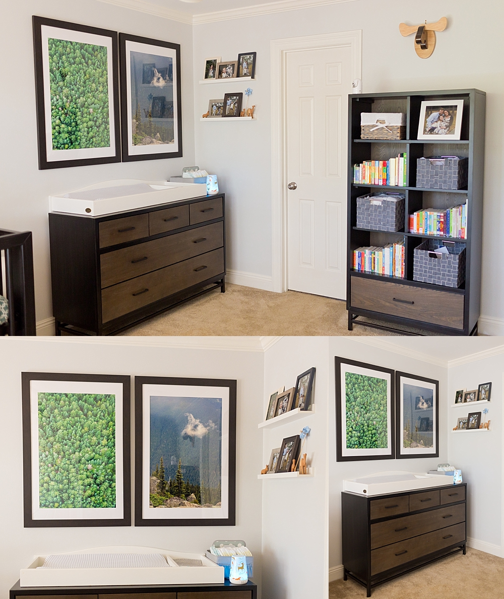 boys nursery design - changing table with dark blue and green wall art