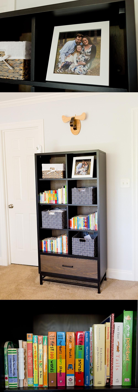 styled bookshelf in baby boy's nursery