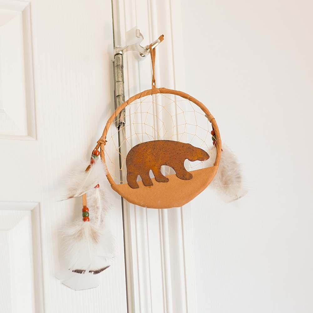 authentic Native American dream catcher with leather grizzly bear