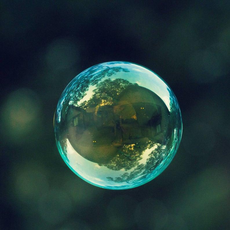 dark teal bubble photo as boy nursery art