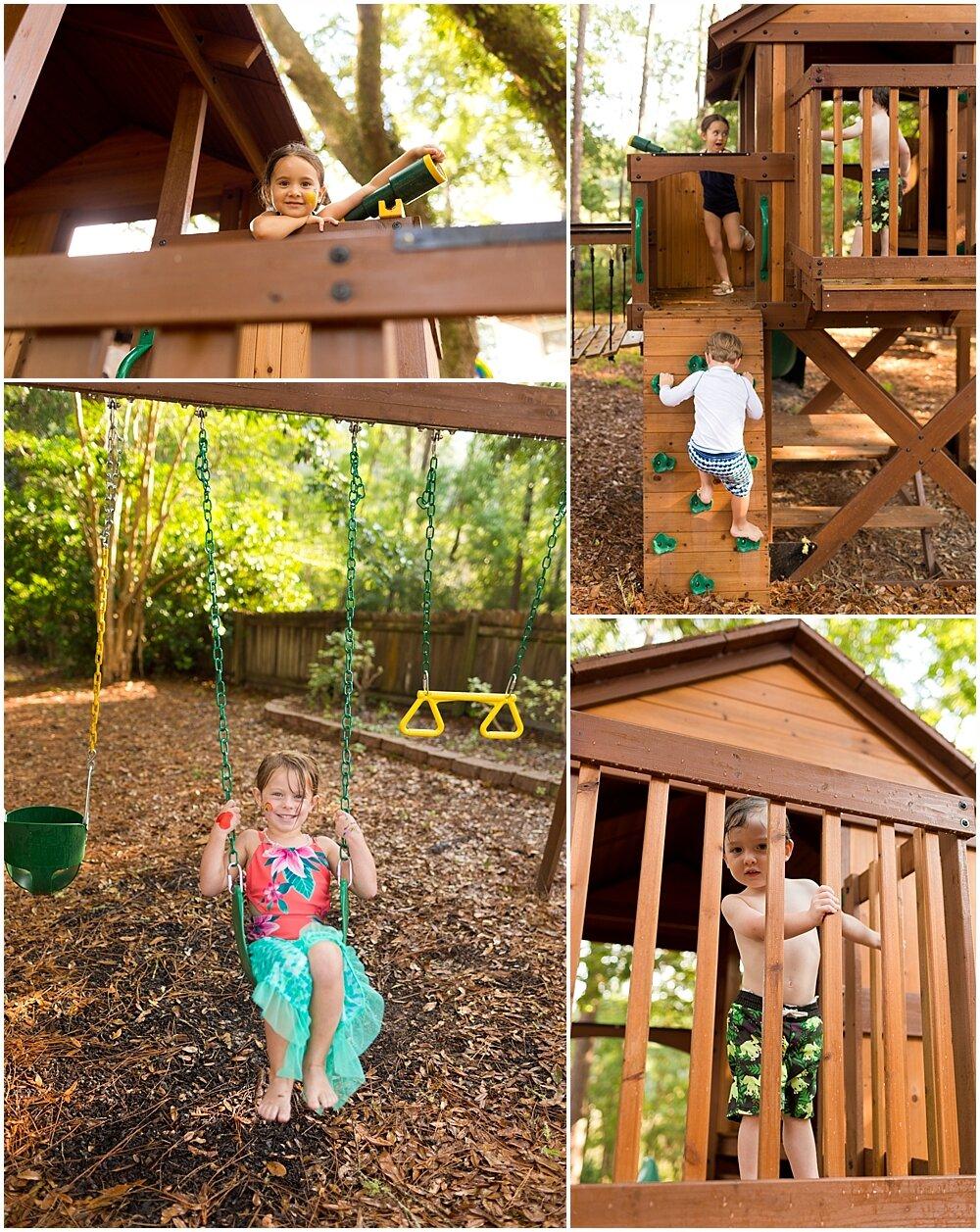 kids playing on back yard play set