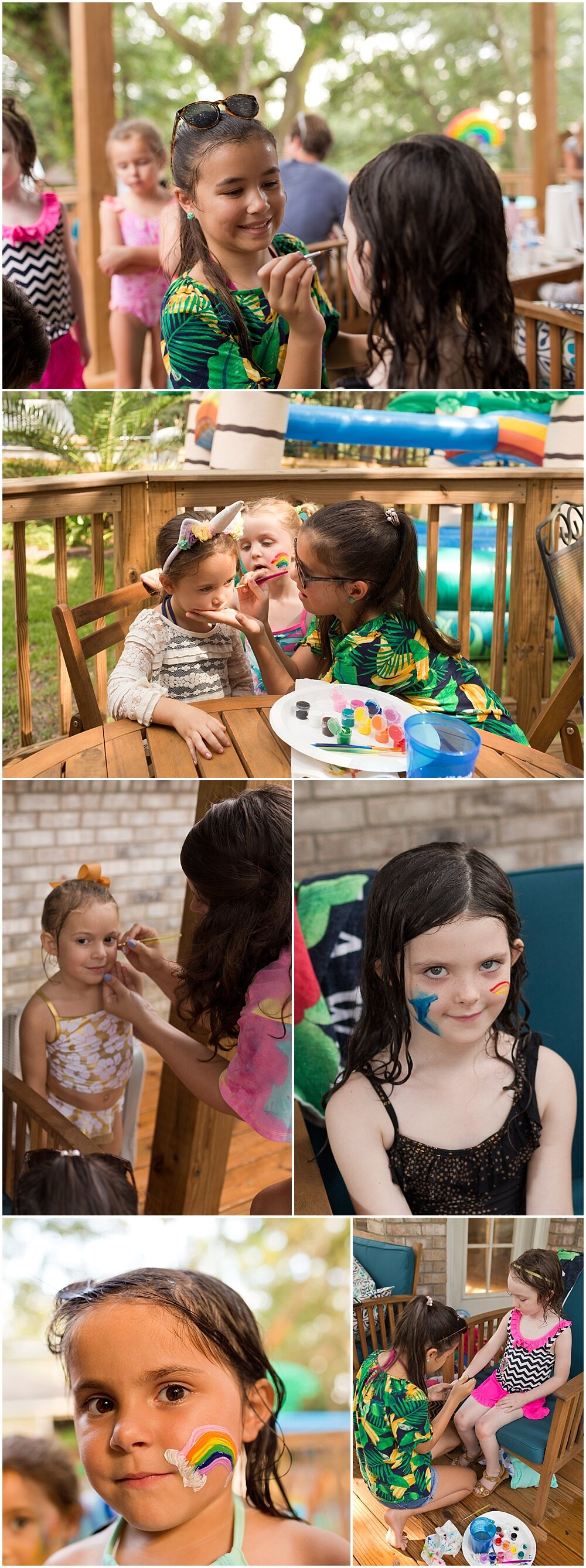 face painting at outdoor kids birthday party