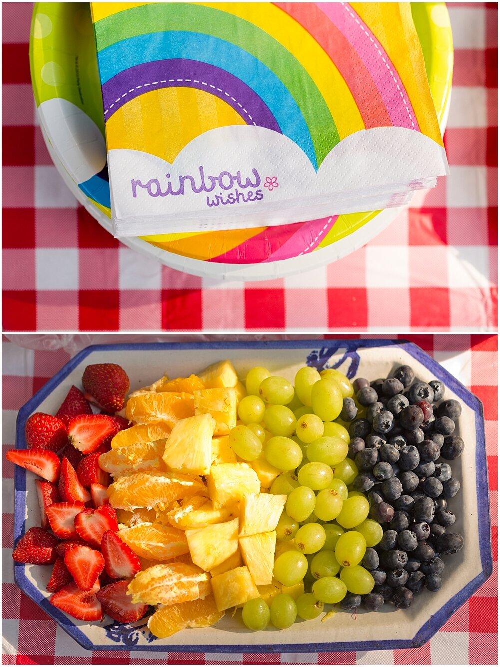 fruit tray for rainbow themed birthday party