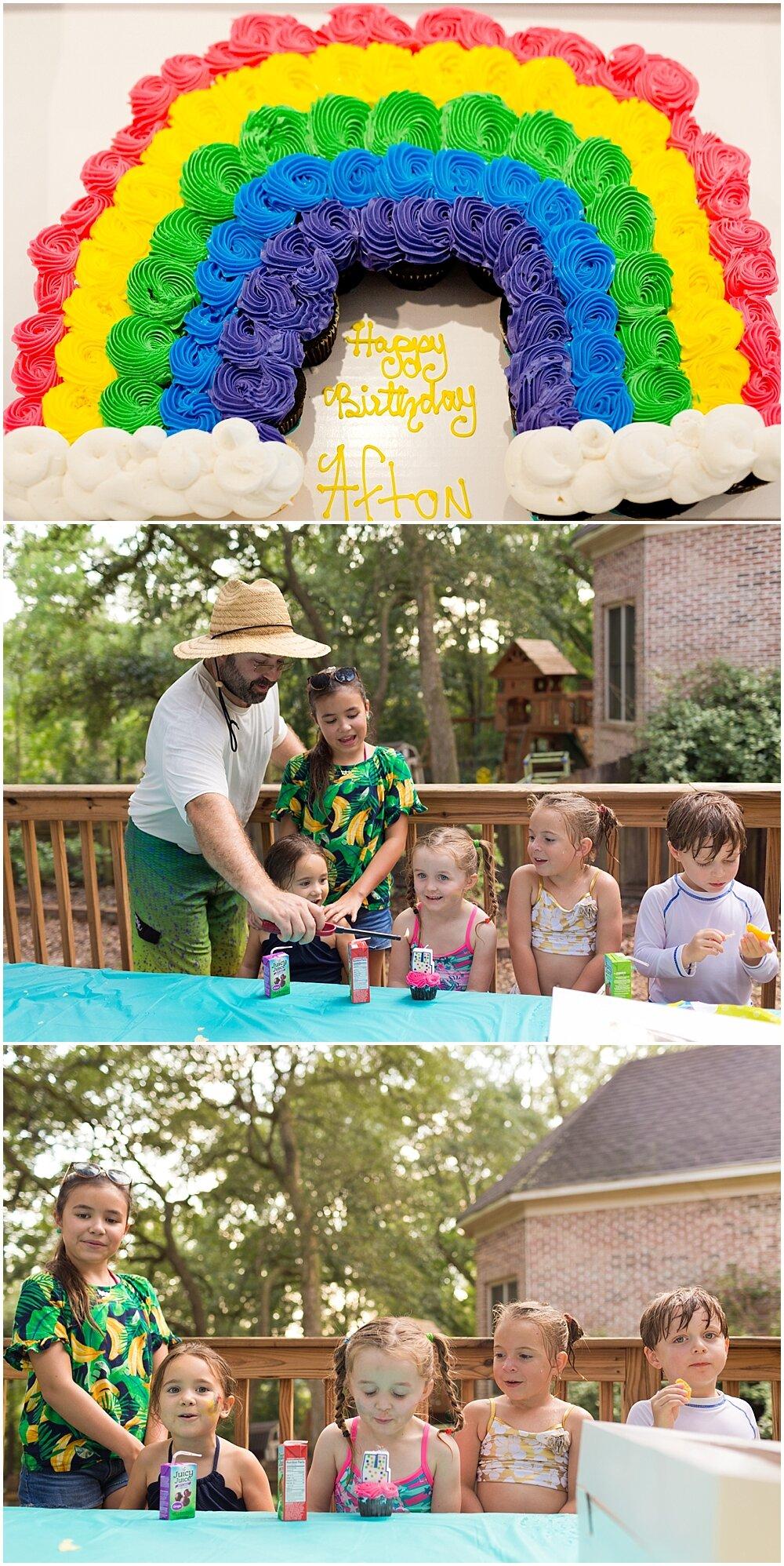 rainbow cupcake pull-apart birthday cake