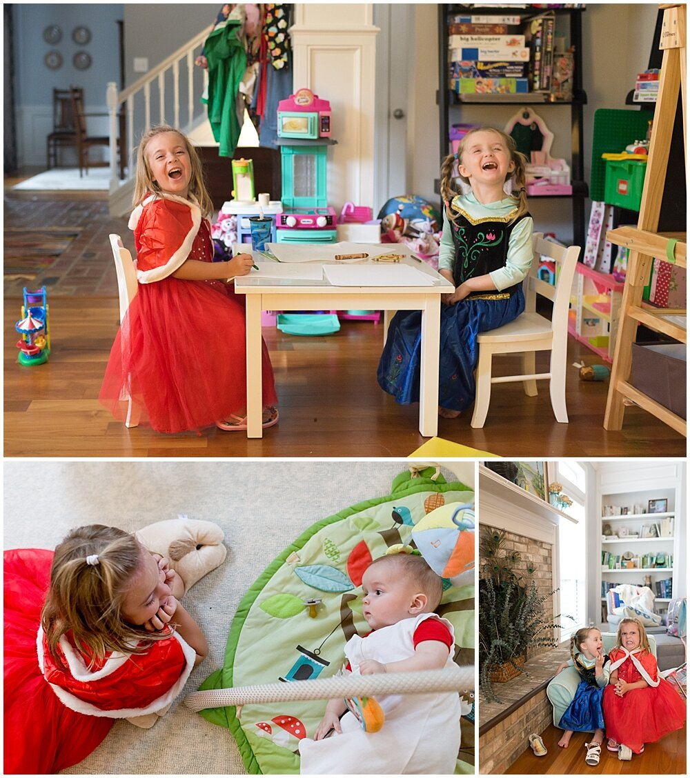 little girls playing dress-up in princess costumes