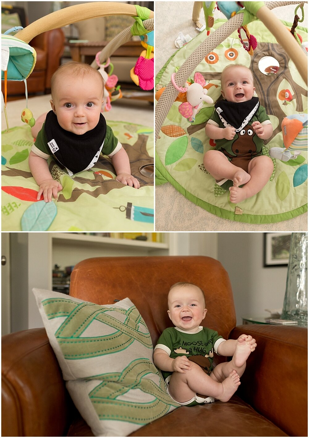 5-month old baby boy playing in living room