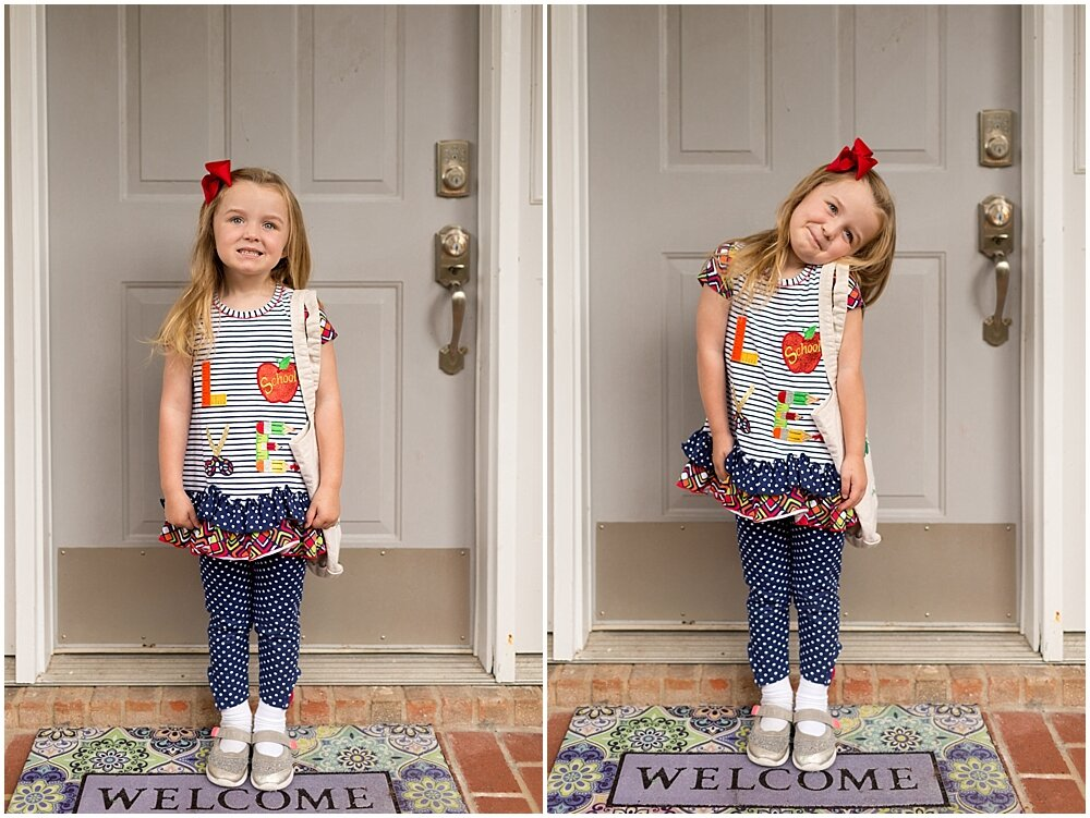 little girl on the first day of preschool