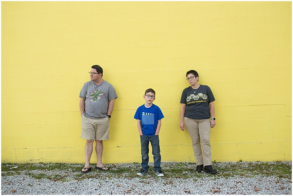 funny family photo with nerdy t-shirts - Ocean Springs family pictures