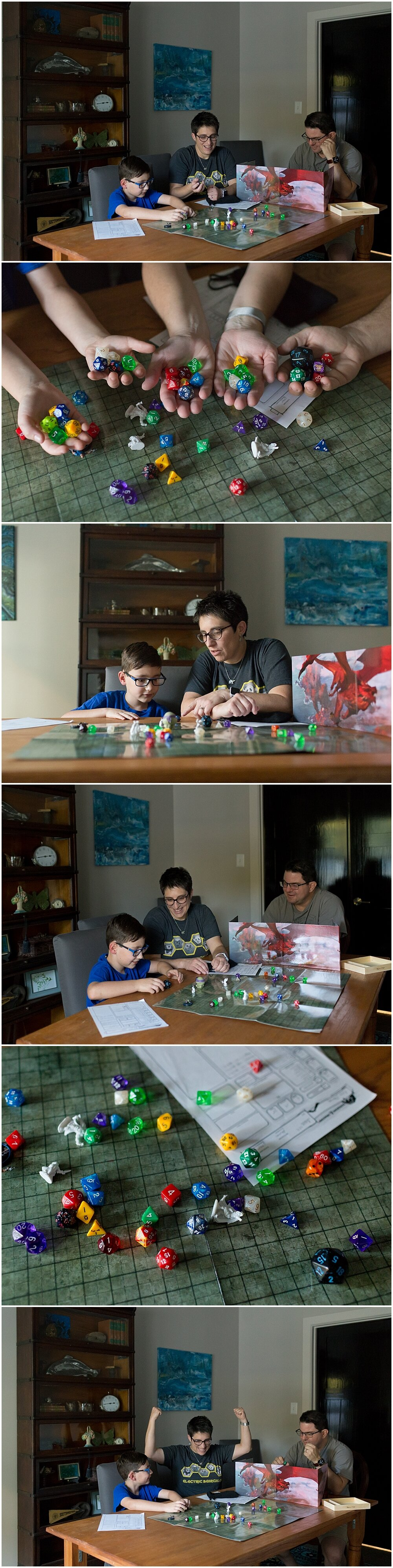family playing Dungeons & Dragons - lifestyle family photographer in Ocean Springs, MS