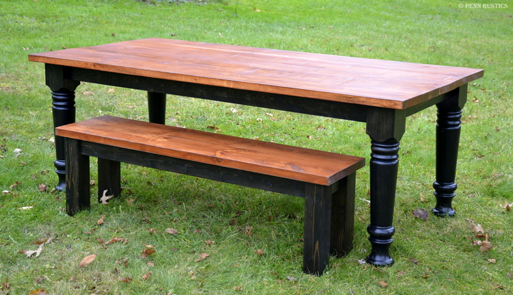 Tuscany Country Rustic Turned Leg Table and Bench Set.jpg