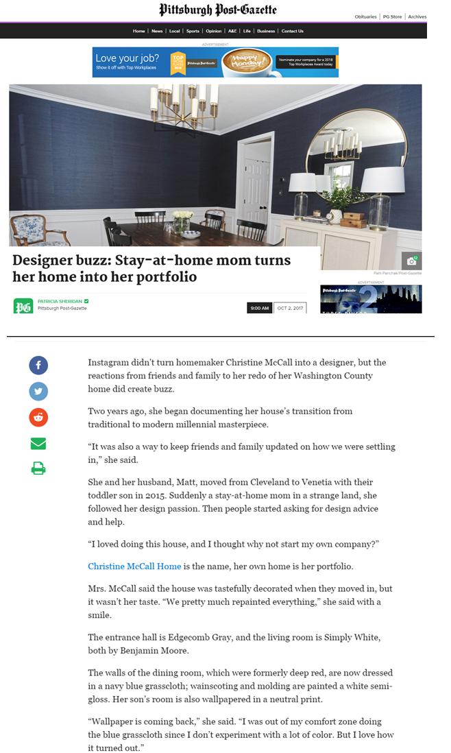 Pittsburgh Post Gazette_Designer Buzz_October 2017.png