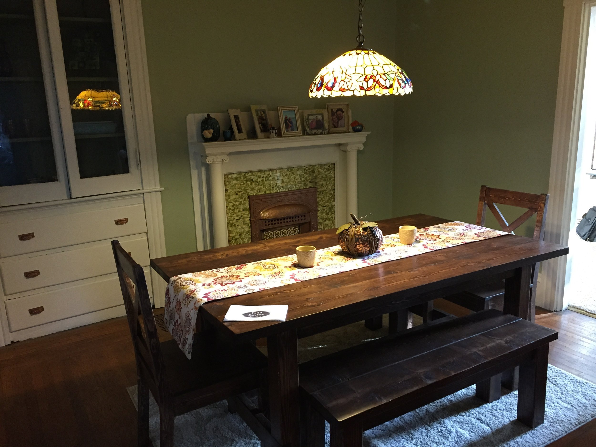 Rustic Farmhouse Table, 2 Bench and 2 Chair Set. Pope2.jpg