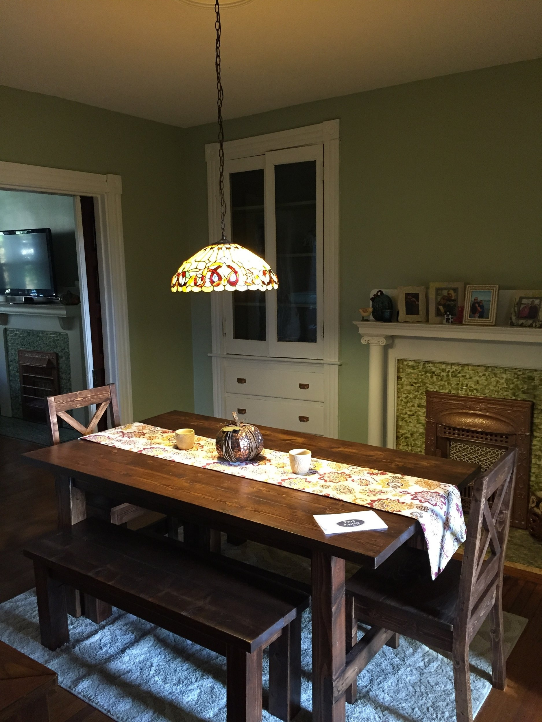 Rustic Farmhouse Table, 2 Bench and 2 Chair Set. Pope.jpg