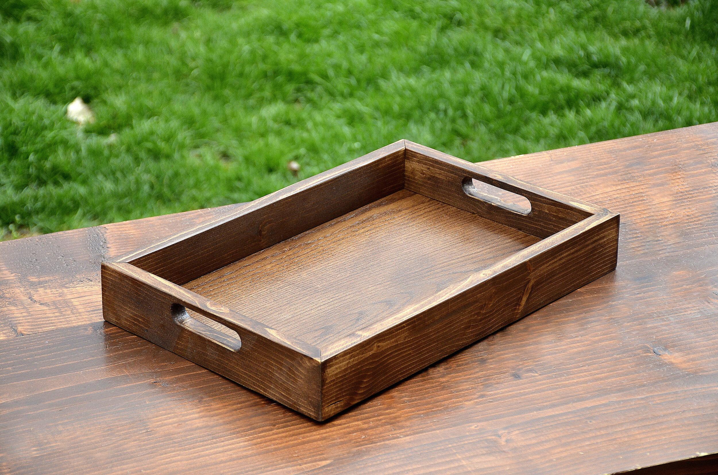 Wood Tray Serving Coffee Table Ottoman Penn Rustics