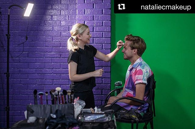 #Repost @nataliecmakeup ・・・ Touching up Brandon from the #BelieveItVid  Photo by: @popikstills Directed by: @nateshively  @themakeuplight