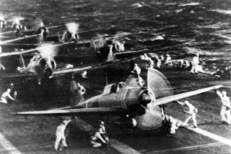 Zeroes of the second wave preparing to take off from aircraft carrier Shokaku for Pearl Harbor