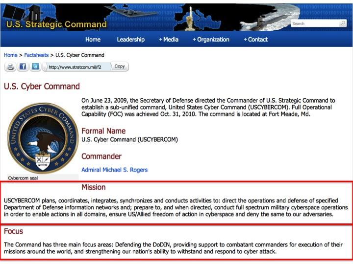 """U.S. Cyber Command"", U.S. Strategic Command  http://www.stratcom.mil/factsheets/2/Cyber_Command/"