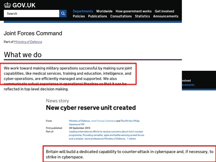 """""""What we do"""", Joint Forces Command  https://www.gov.uk/government/news/reserves-head-up-new-cyber-unit"""
