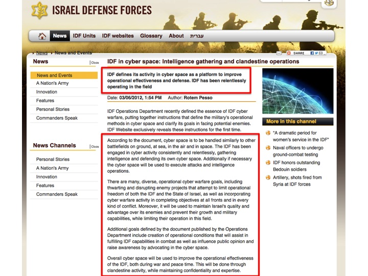 """""""IDF in cyber space: Intelligence gathering and clandestine operations"""", Israel Defense Forces  http://www.idf.il/1283-16122-en/Dover.aspx"""