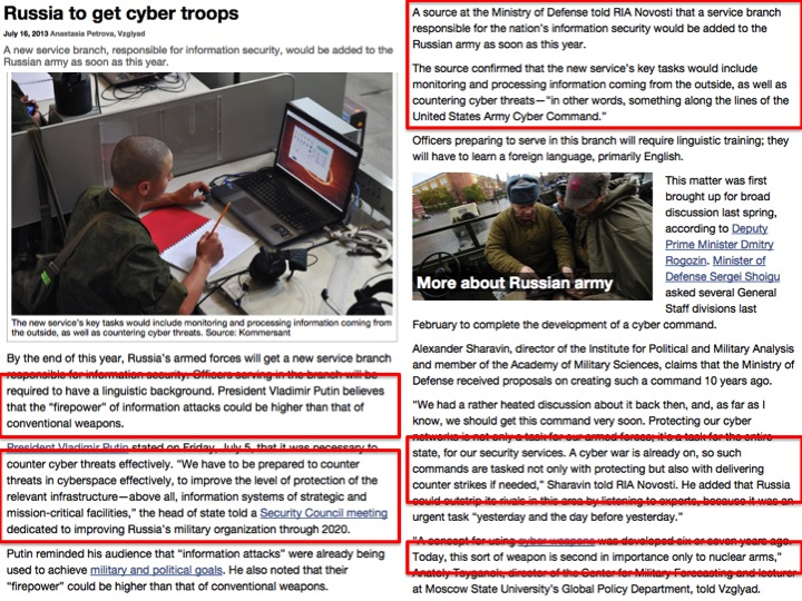 """Petrova, Anastasia. """"Russia to get cyber troops"""" (16 Jul 2013)  Vzglyad  (Source:  Russia Beyond the Headlines  )  http://rbth.co.uk/society/2013/07/16/russia_to_get_cyber_troops_28069.html  ."""