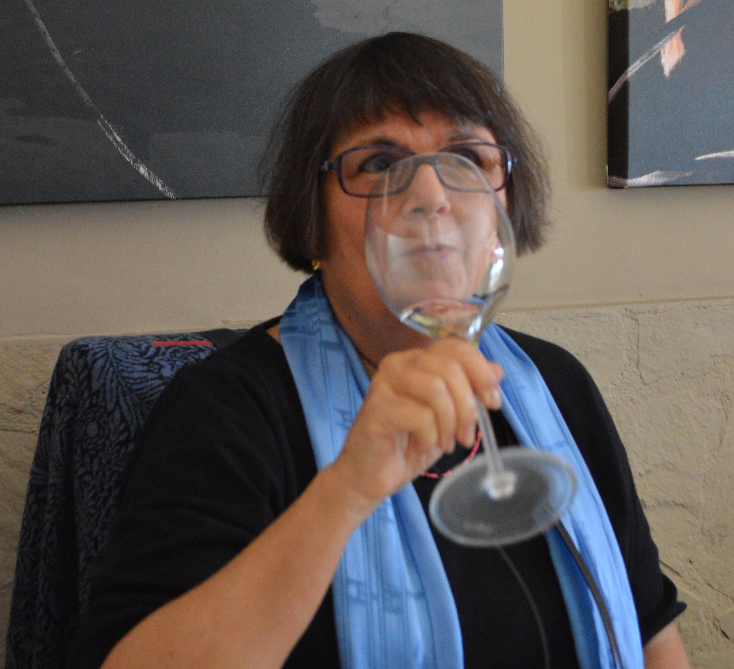 Maureen w wine Civitavecchia.JPG