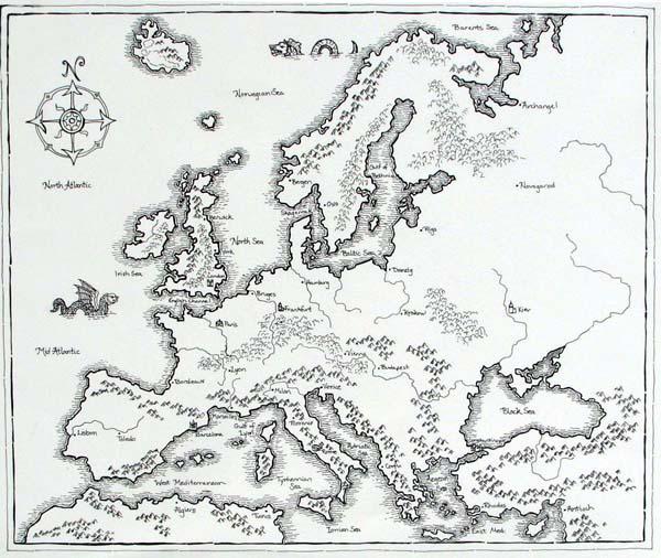 Civilization Game Map - Black and White Version