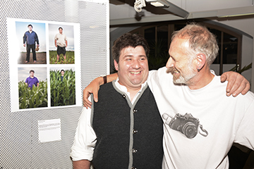 Christian Arnhard (Farmer) and myself at the opening in the Library in Landsberg