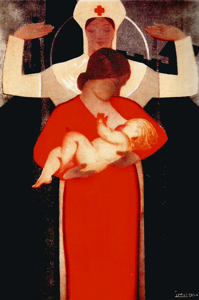 """The mother breast-feeds her child..."" Spain. c. 1930."