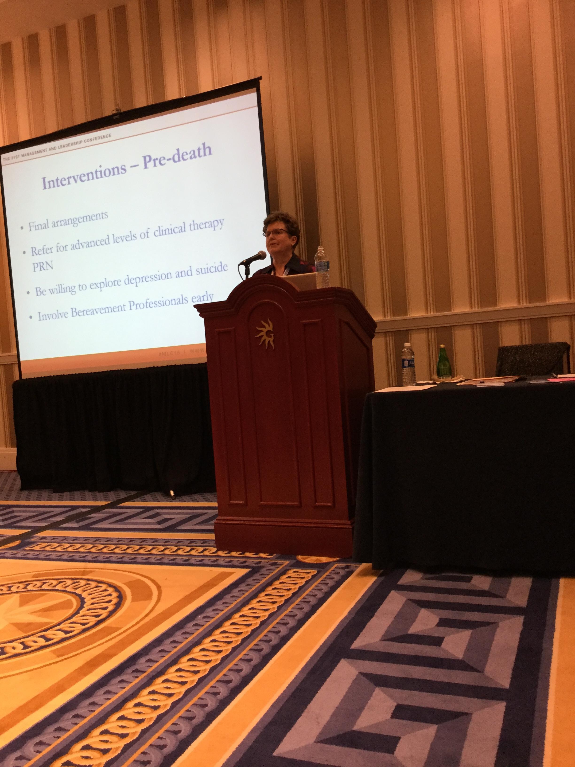 A social worker discussing pre- bereavement strategies.