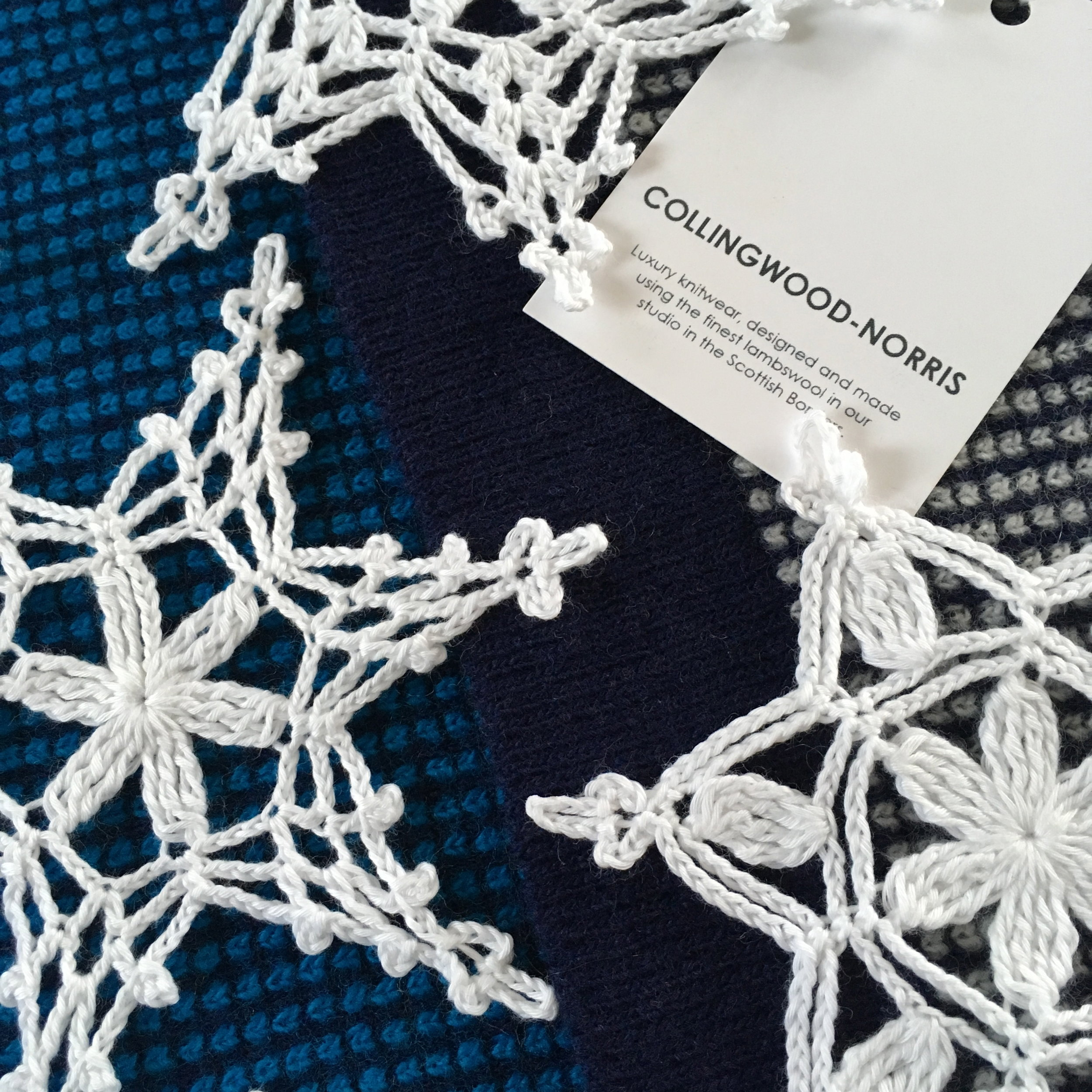 Crochet snowflakes with Lismore super soft wool scarf.