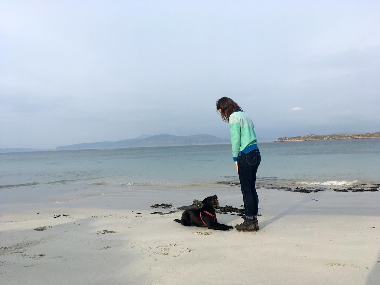 Islay Scoop Neck Jumper, on Iona at dusk.