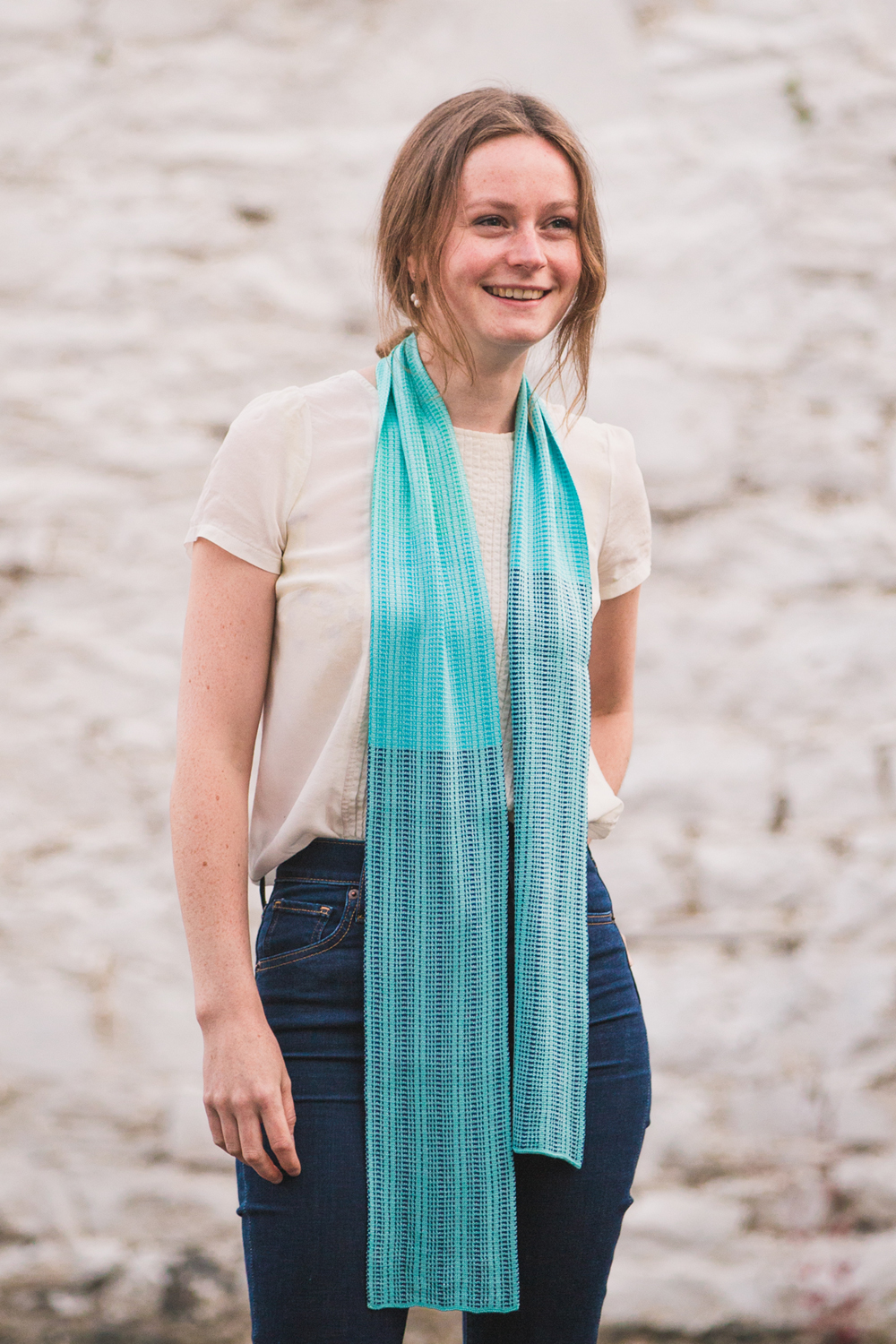 The simplest of ways to wear a scarf- just let it hang! This is our Shiel Scarf.