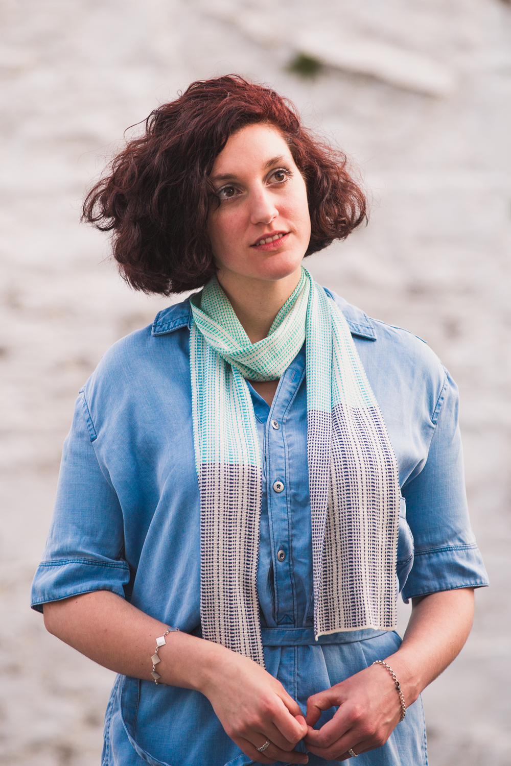 Simple, and always works! This Morar Scarf has been wound once round the neck.