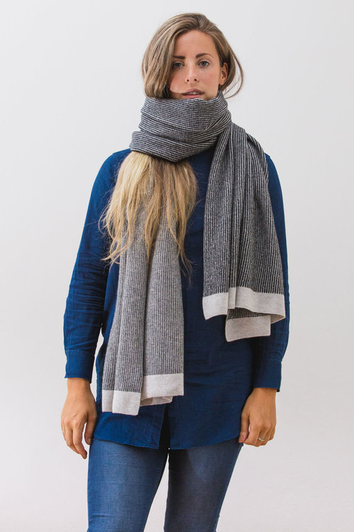 afd78ffdd Mist Blanket scarf in greys. A soft lambswool scarf designed and made in  Scotland.