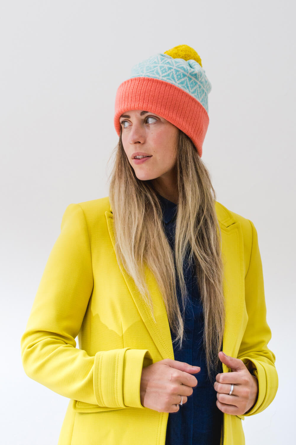 Made in Scotland Yellow or Blue Canna Lambswool Knitted Long Scarf