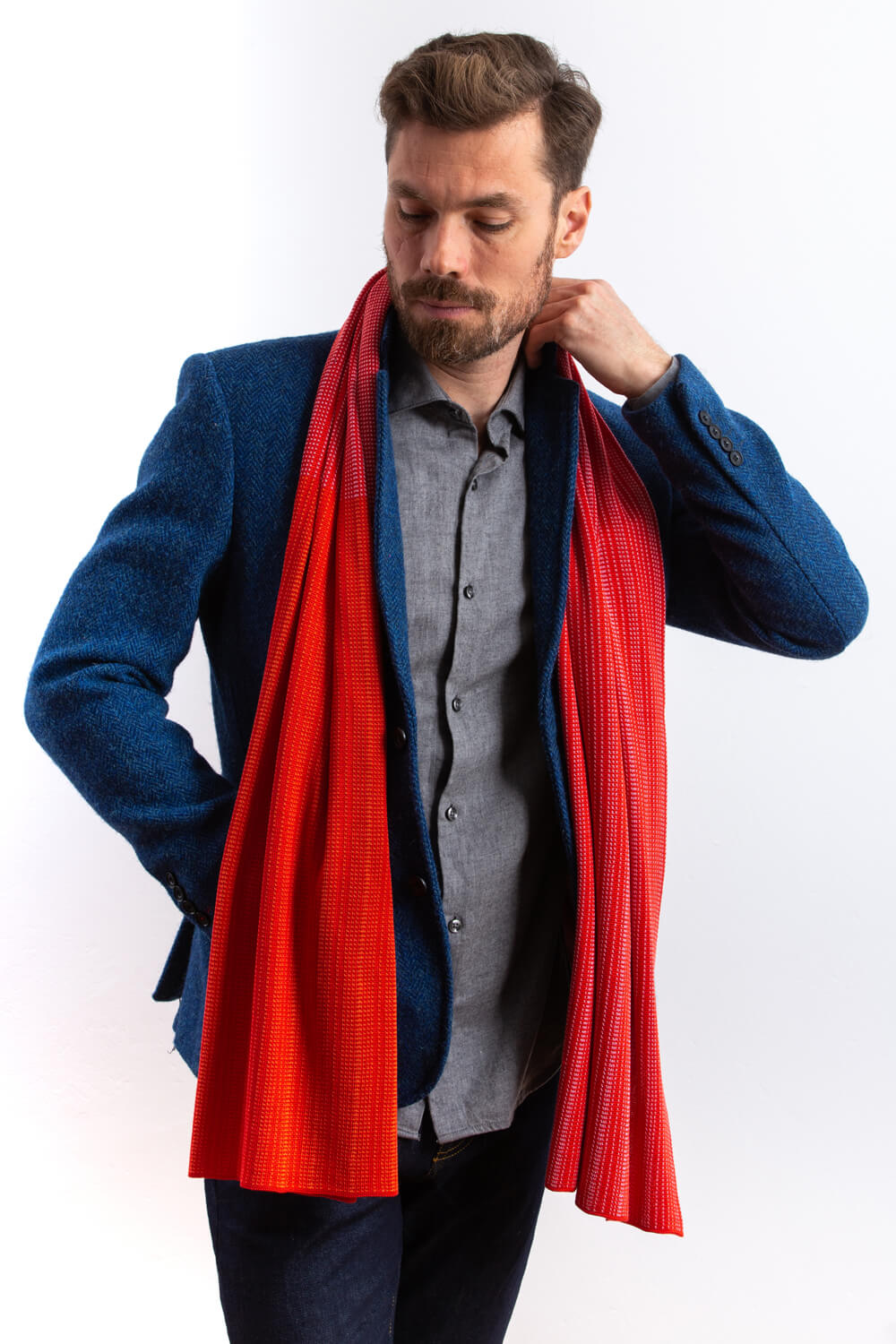 Large silk designer scarf for men. A red silk scarf, made in Scotland. Luxury Scottish Knitwear design by Collingwood-Norris.jpg