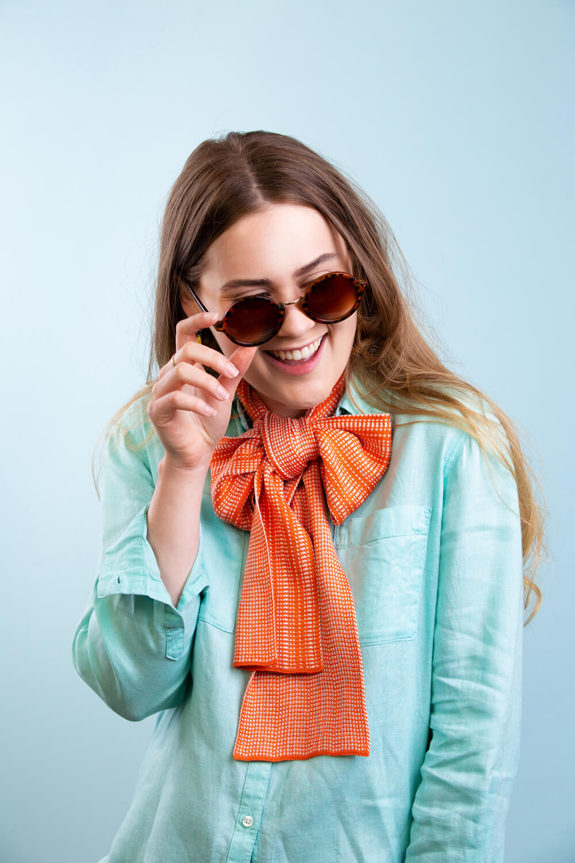 Womens silk scarf in orange by Collingwood-Norris. Made in Scotland.jpg