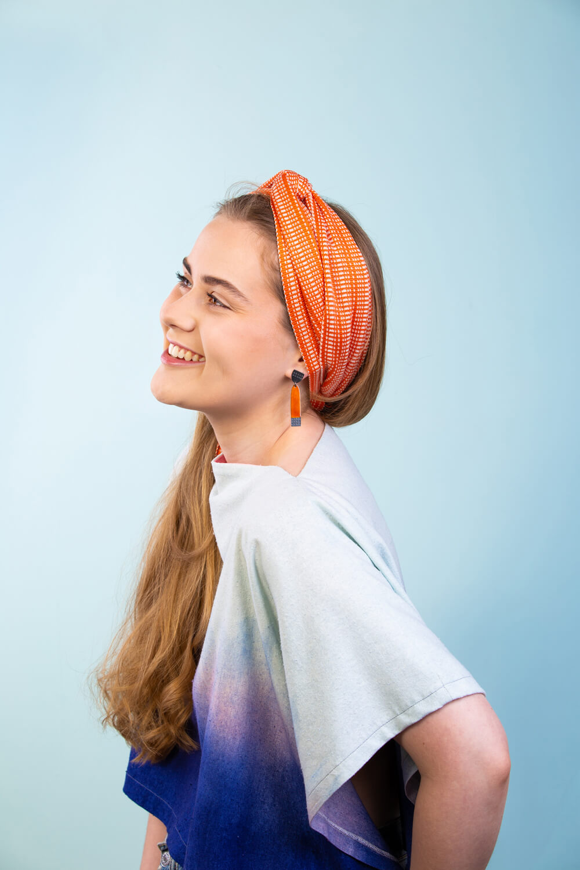 Designer silk headscarf in orange by Collingwood-Norris. Made in Scotland.jpg
