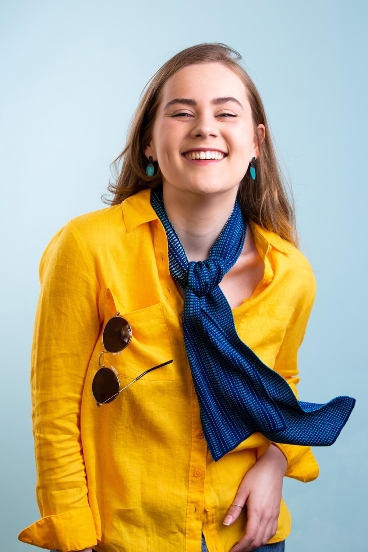 Womens Designer silk scarf in dark blue by Collingwood-Norris. Made in Scotland.jpg