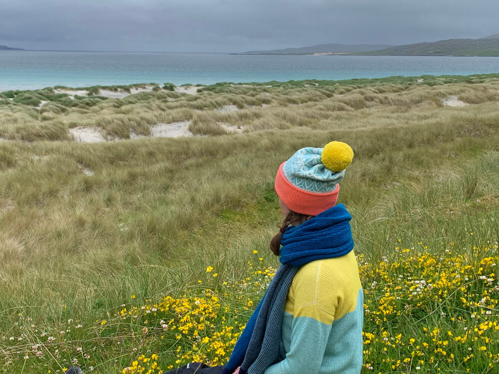 A sneaky peak of a new jumper that will be available from August, with Lismore blanket scarf and Ettrick hat, on Luskentyre beach.