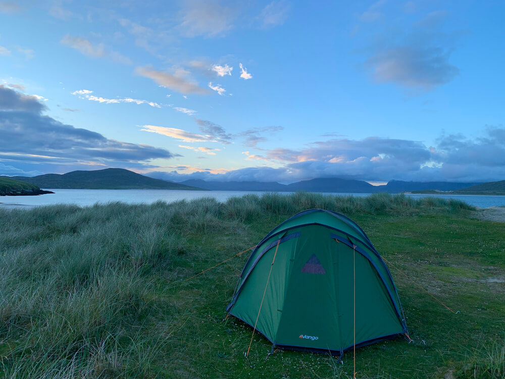 Horgabost, Harris, camping on the beach.