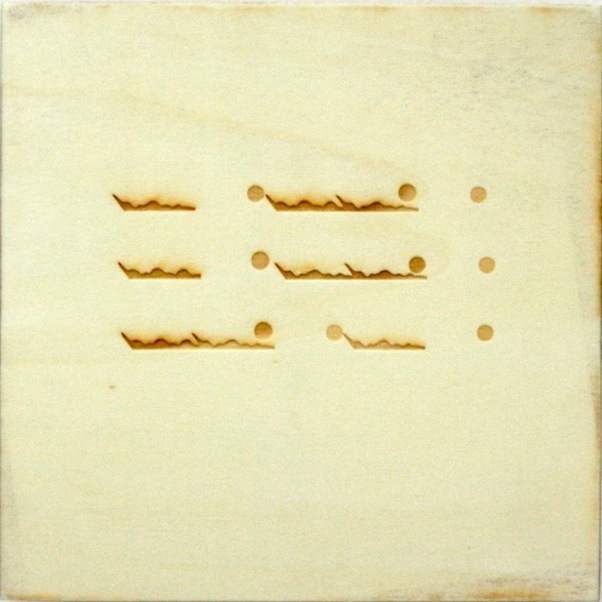Christine Kettaneh,  mute melody to Aa dot , laser-engraving on plywood, ed.1/2, 2013.  Exposure 2013, Beirut Art Center.