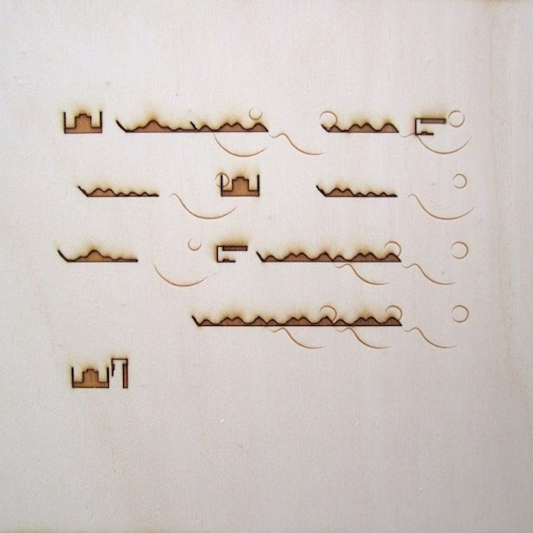 Christine Kettaneh,  mute melody to P , laser-engraving on plywood, ed.1/2, 2013.  Exposure 2013, Beirut Art Center.