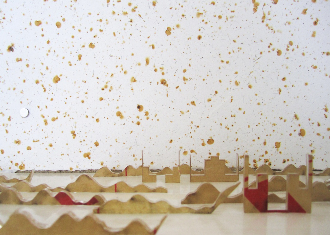 Christine Kettaneh,  mute scape , laser-cut acrylic pieces and handmade paper with embedded metal filings, 2013.