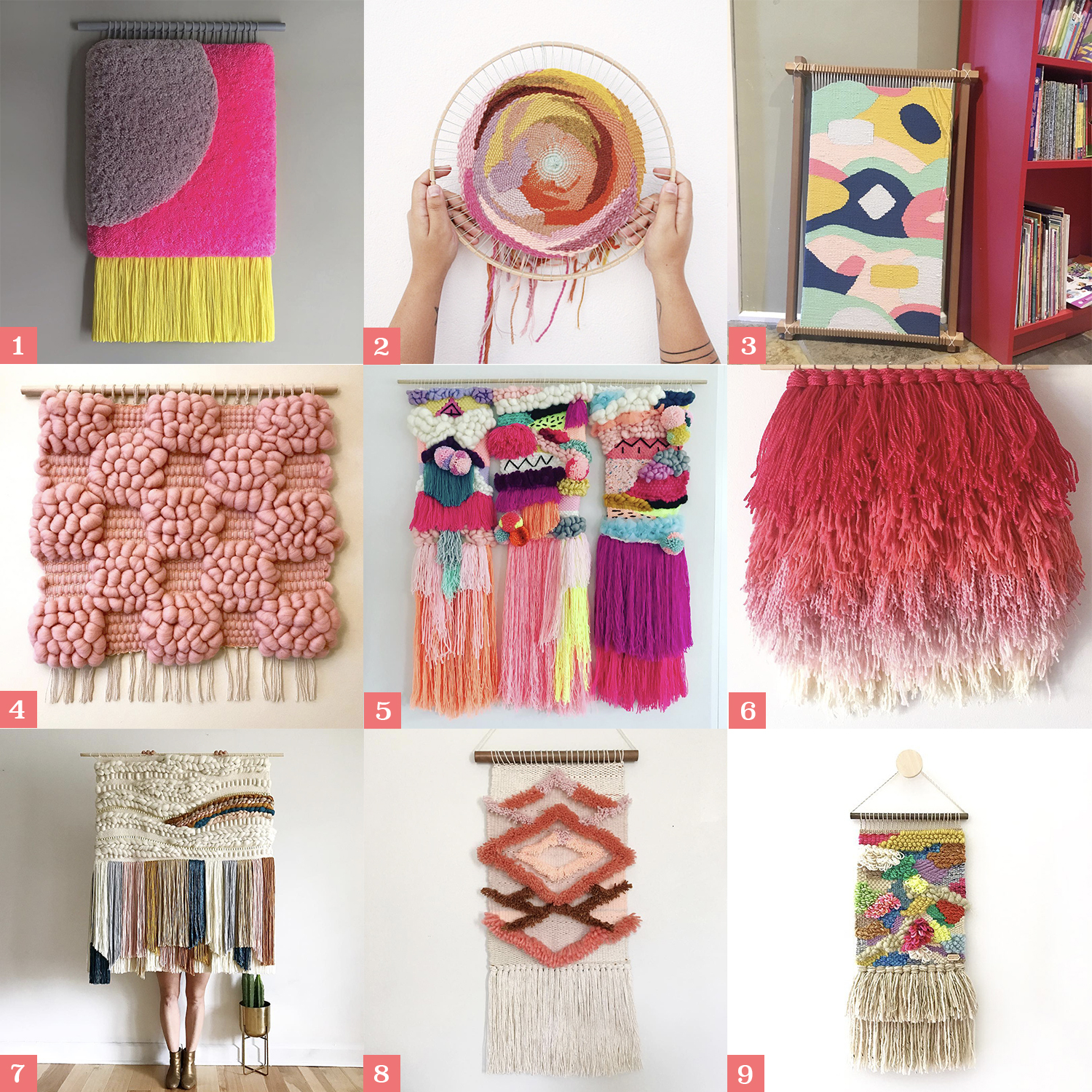 1.  Jujujust  2.  Two Hand Textile Studio   3.  Ada Olive Handmade  4.  Soft Century  5.  Zoe Loves Ava  6.  Miss Mara Makes  7.  Sun Woven  8.  Smile And Wave  9.  Midnight Weave Co