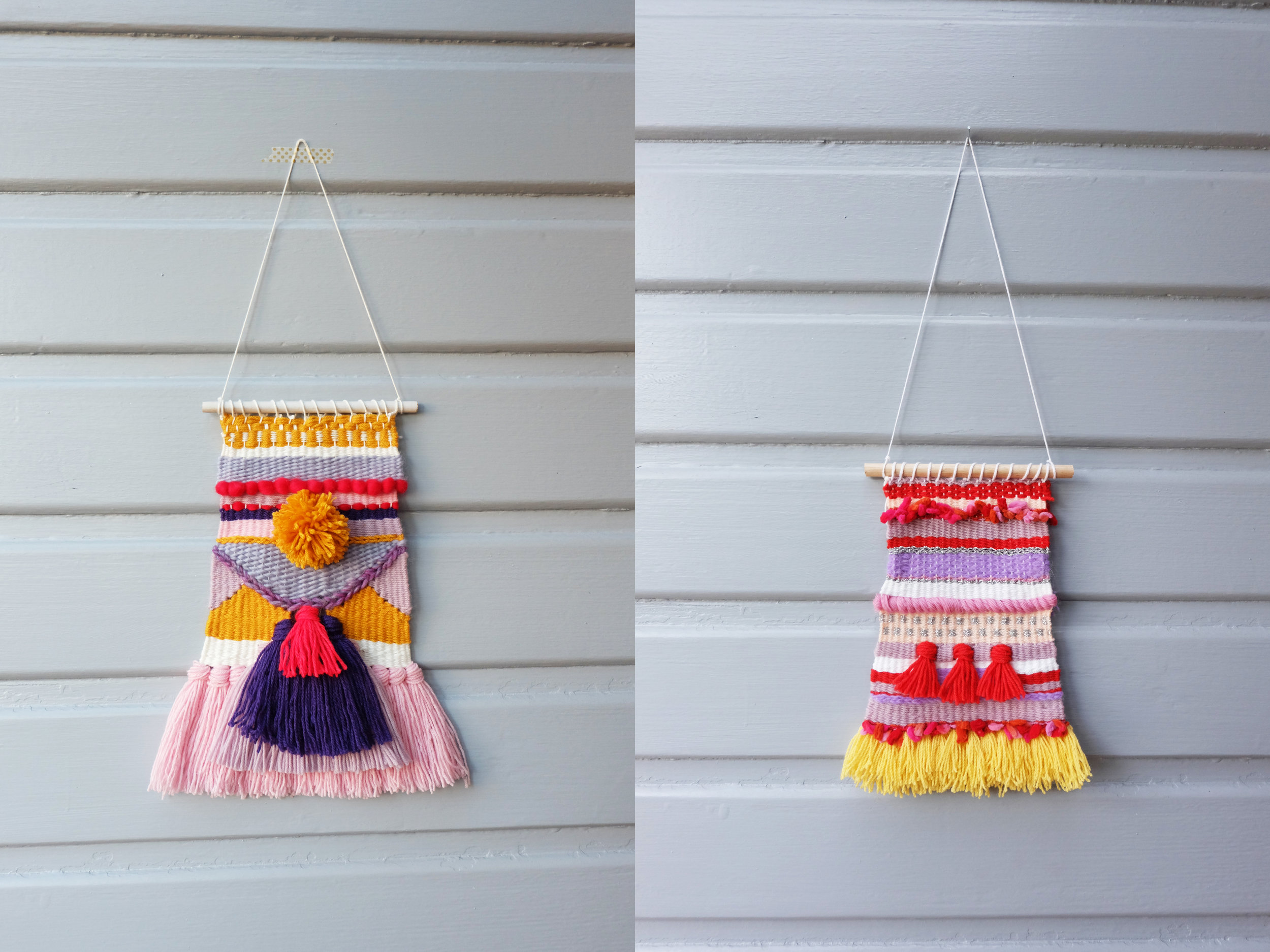 Left: A weaving for my friend Jaine for Christmas. Right: A weaving for my sister Sarah for Christmas.