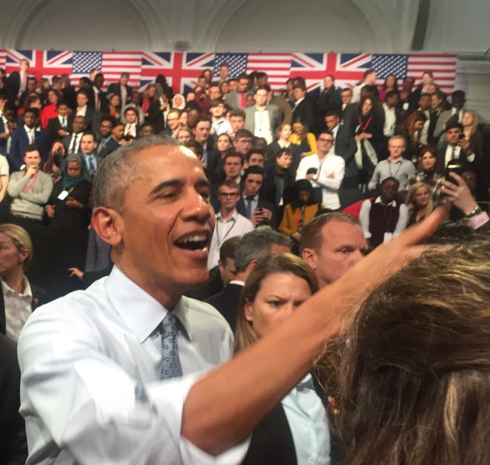 President Obama greeting young people